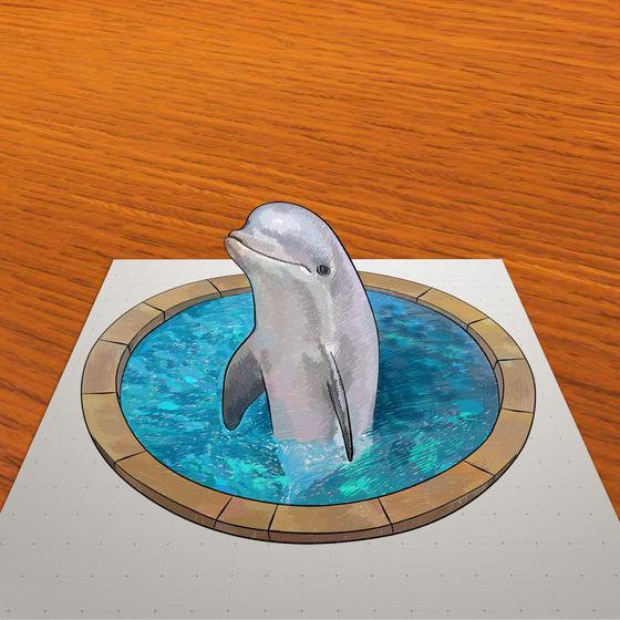 Рисуем 3D рисунок дельфина в бассейне