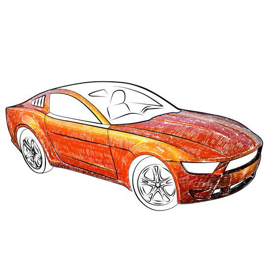 Рисуем 3d машину на бумаге
