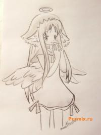 ангела с яйцом в руке на пасху карандашом