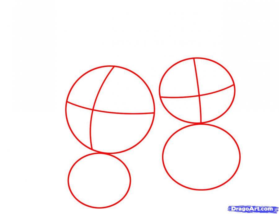 Рисуем двух пасхальных кроликов - шаг 1