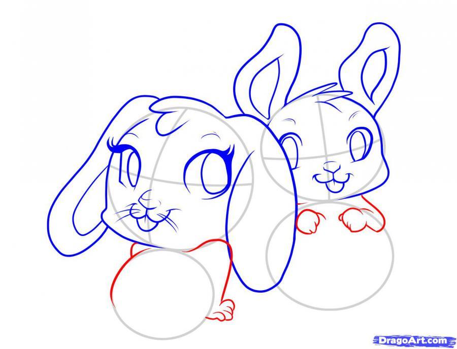 Рисуем двух пасхальных кроликов - шаг 4