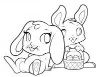 двух пасхальных кроликов карандашом