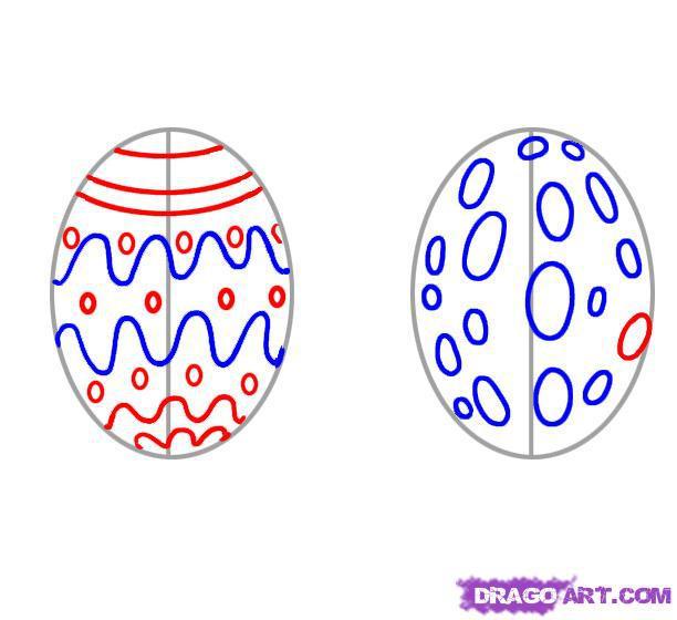 Рисуем пасхальное яйцо на бумаге