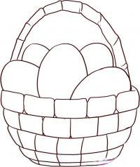 Как нарисовать Пасхальную корзинку карандашом поэтапно