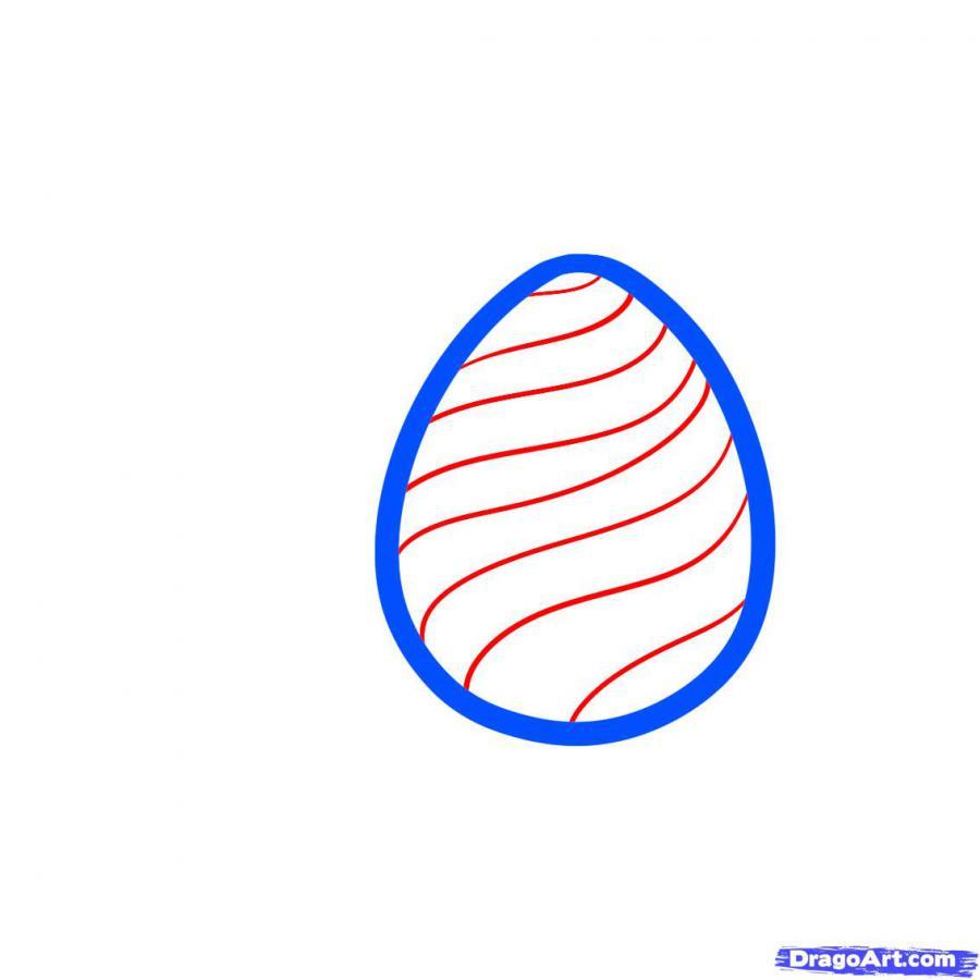 Как просто нарисовать пасхальные яйца  на бумаге - шаг 2