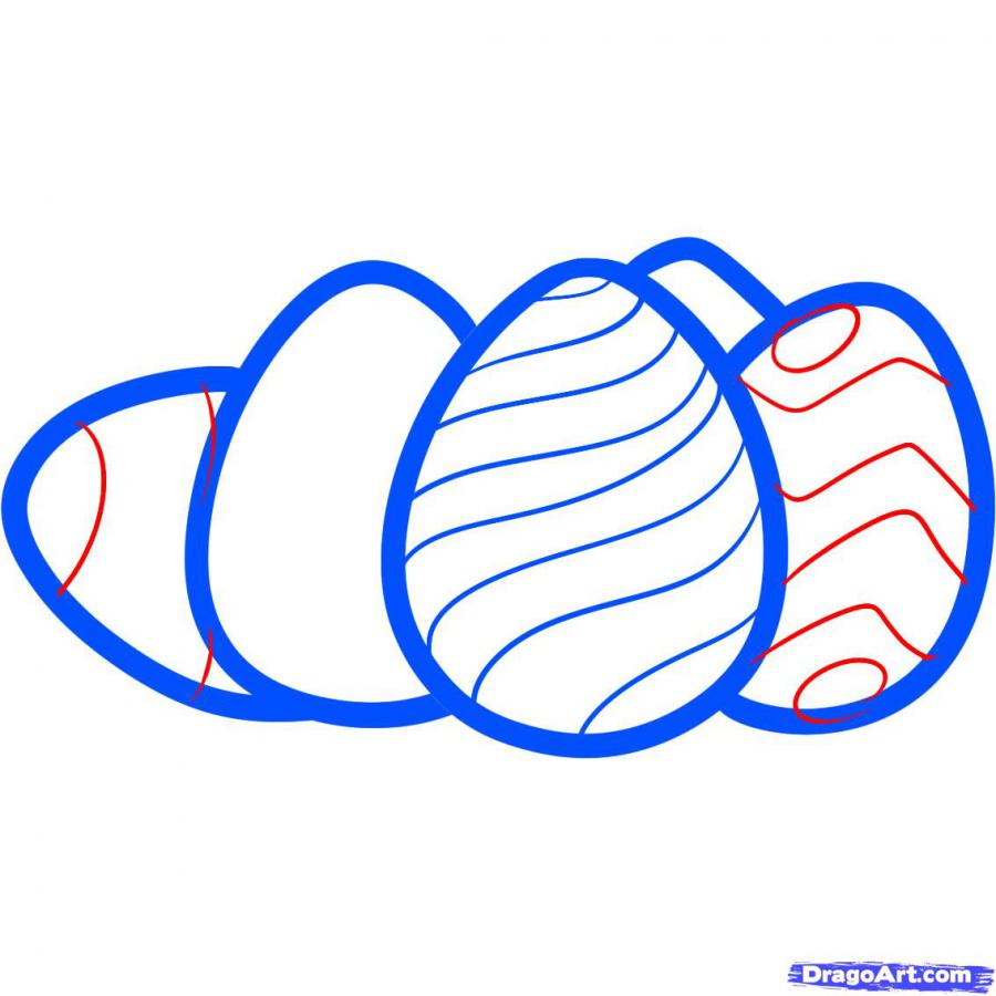 Как просто нарисовать пасхальные яйца  на бумаге - фото 7