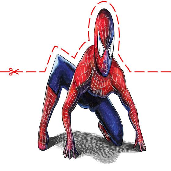 Рисуем 3D Человека-паука на бумаге - шаг 11