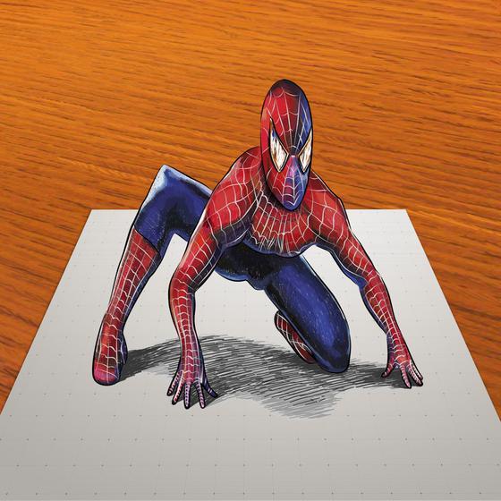 Рисуем 3D Человека-паука на бумаге - шаг 12