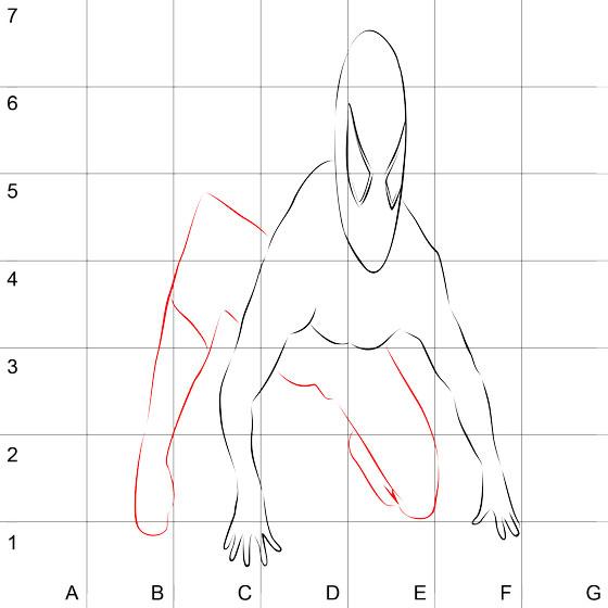 Рисуем 3D Человека-паука на бумаге - шаг 3