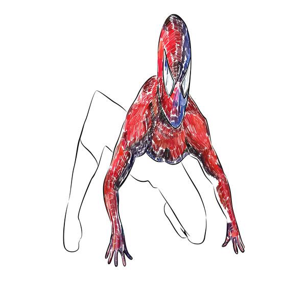 Рисуем 3D Человека-паука на бумаге - шаг 4