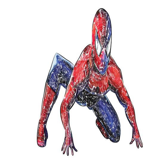 Рисуем 3D Человека-паука на бумаге - шаг 5