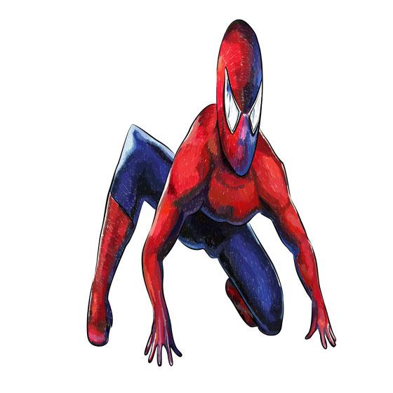 Рисуем 3D Человека-паука на бумаге - шаг 6