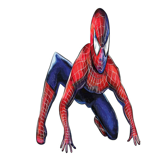Рисуем 3D Человека-паука на бумаге - шаг 7