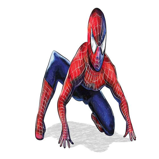 Рисуем 3D Человека-паука на бумаге - шаг 8