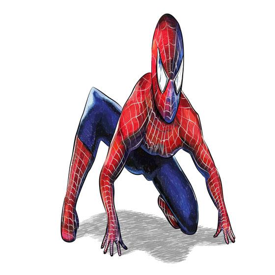 Рисуем 3D Человека-паука на бумаге - шаг 9