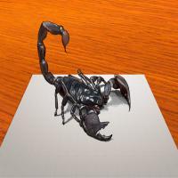 Фотография 3D рисунок черного скорпиона шаг за шагом