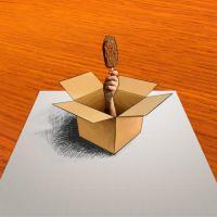 Фотография 3D руку с мороженым на бумаге