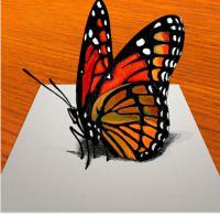 Рисунок бабочку в 3D на бумаге