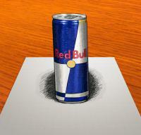 Рисунок банку Red Bull в 3D на бумаге