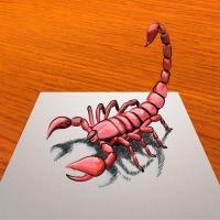 Как нарисовать красного скорпиона в 3Д шаг за шагом