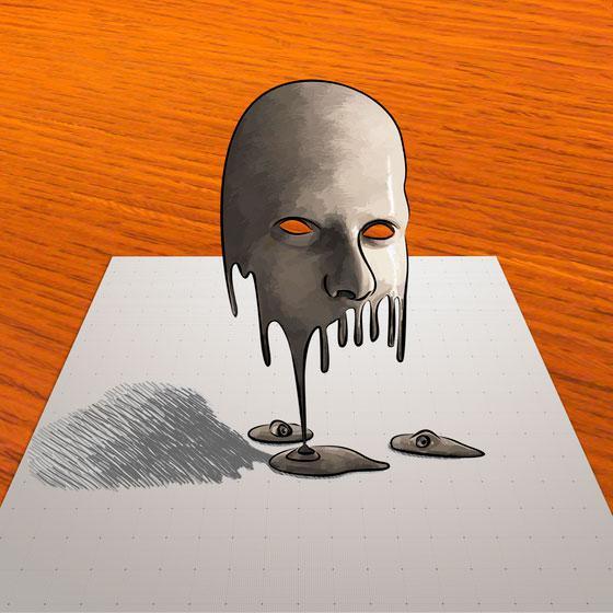 Как научиться рисовать тающую 3D маску на бумаге поэтапно