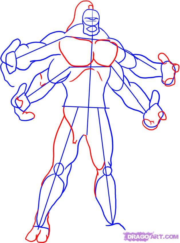 Рисуем Goro из Mortal Kombat
