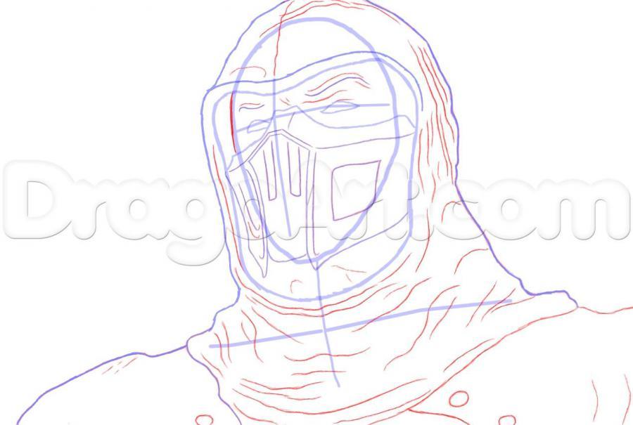 Как нарисовать Нуб Сайбота из Мортал Комбат карандашом