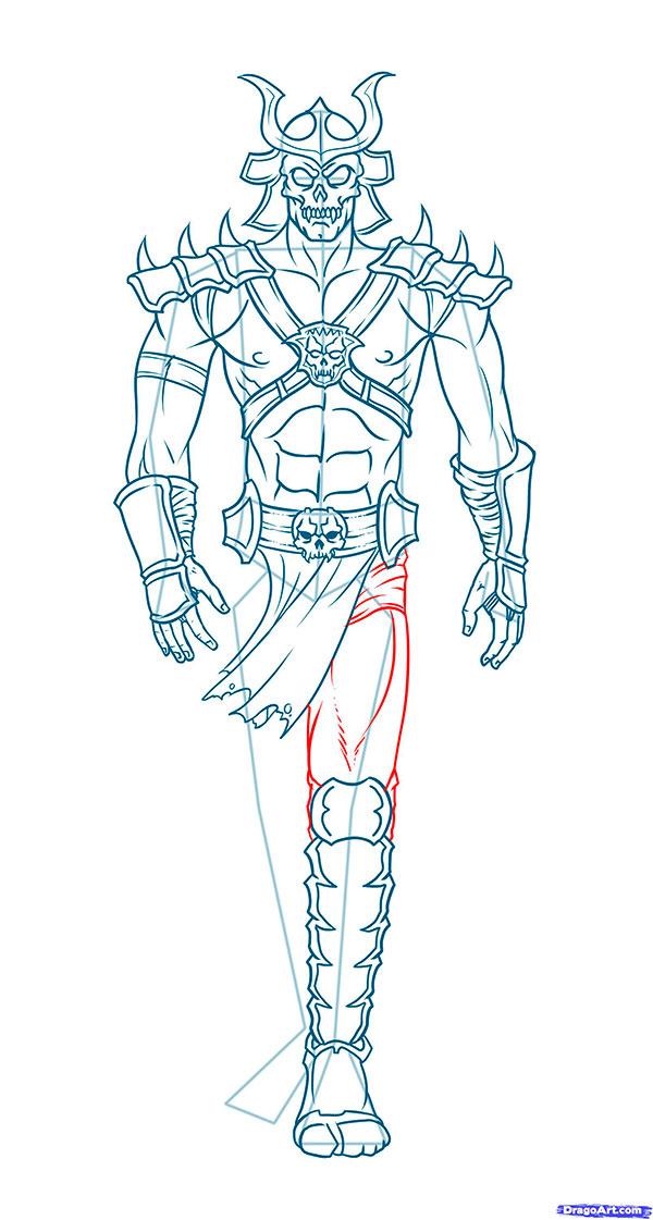Как нарисовать Шао Кана из Mortal Kombat карандашом поэтапно