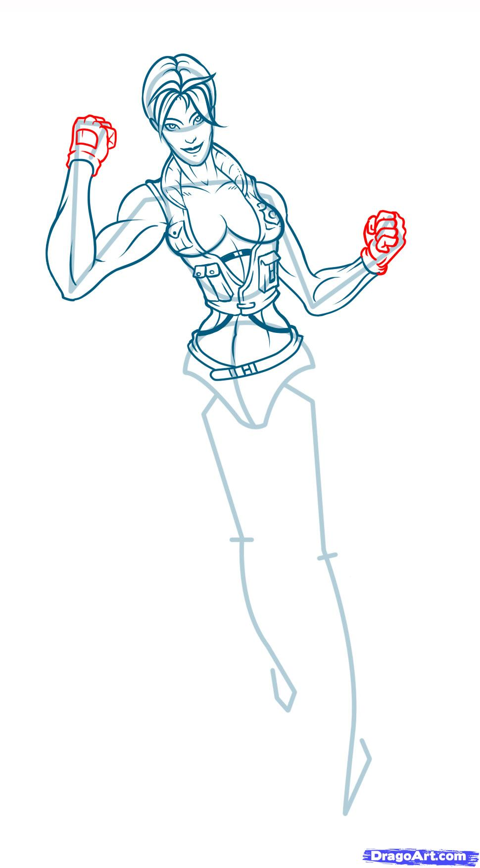Рисуем Соню Блейд из Mortal Kombat