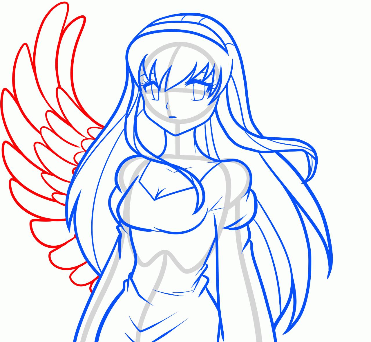 Рисуем аниме девушку ангела карандашами - фото 7