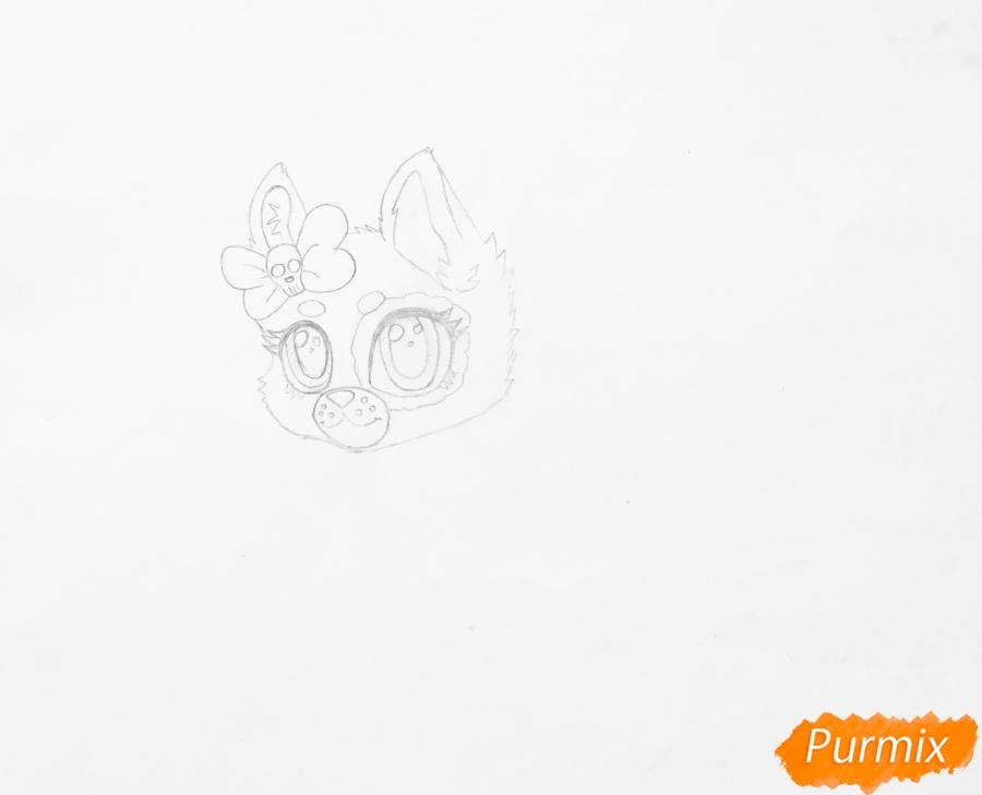 Рисуем зеленоглазую чёрно-серую аниме кошку с розовым бантиком - шаг 3