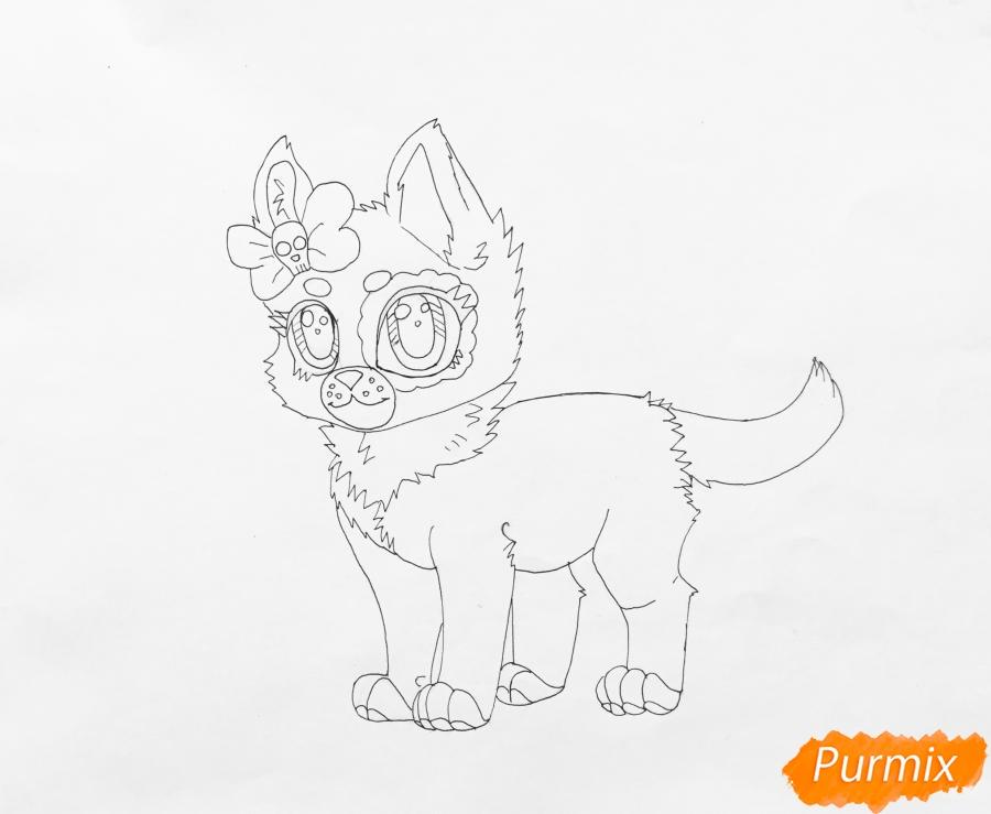 Рисуем зеленоглазую чёрно-серую аниме кошку с розовым бантиком - шаг 6