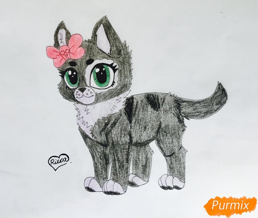 Рисуем зеленоглазую  чёрно-серую аниме кошку с розовым бантиком - шаг 8