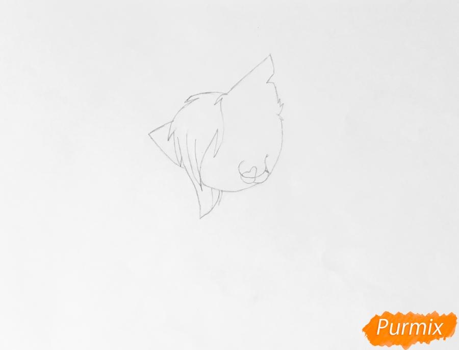 Золотая аниме кошечка в шарфике - шаг 2