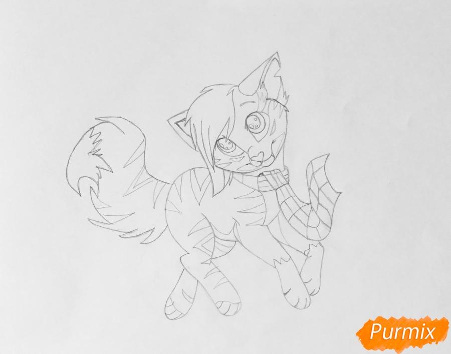 Золотая аниме кошечка в шарфике - шаг 7