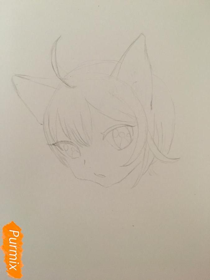 Рисуем аниме девочку неко с короной простыми карандашами - шаг 2