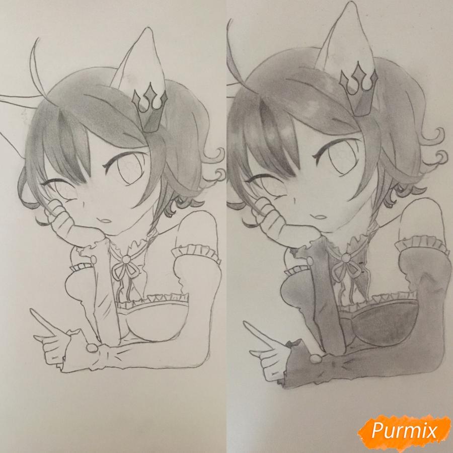 Рисуем аниме девочку неко с короной простыми карандашами - шаг 8
