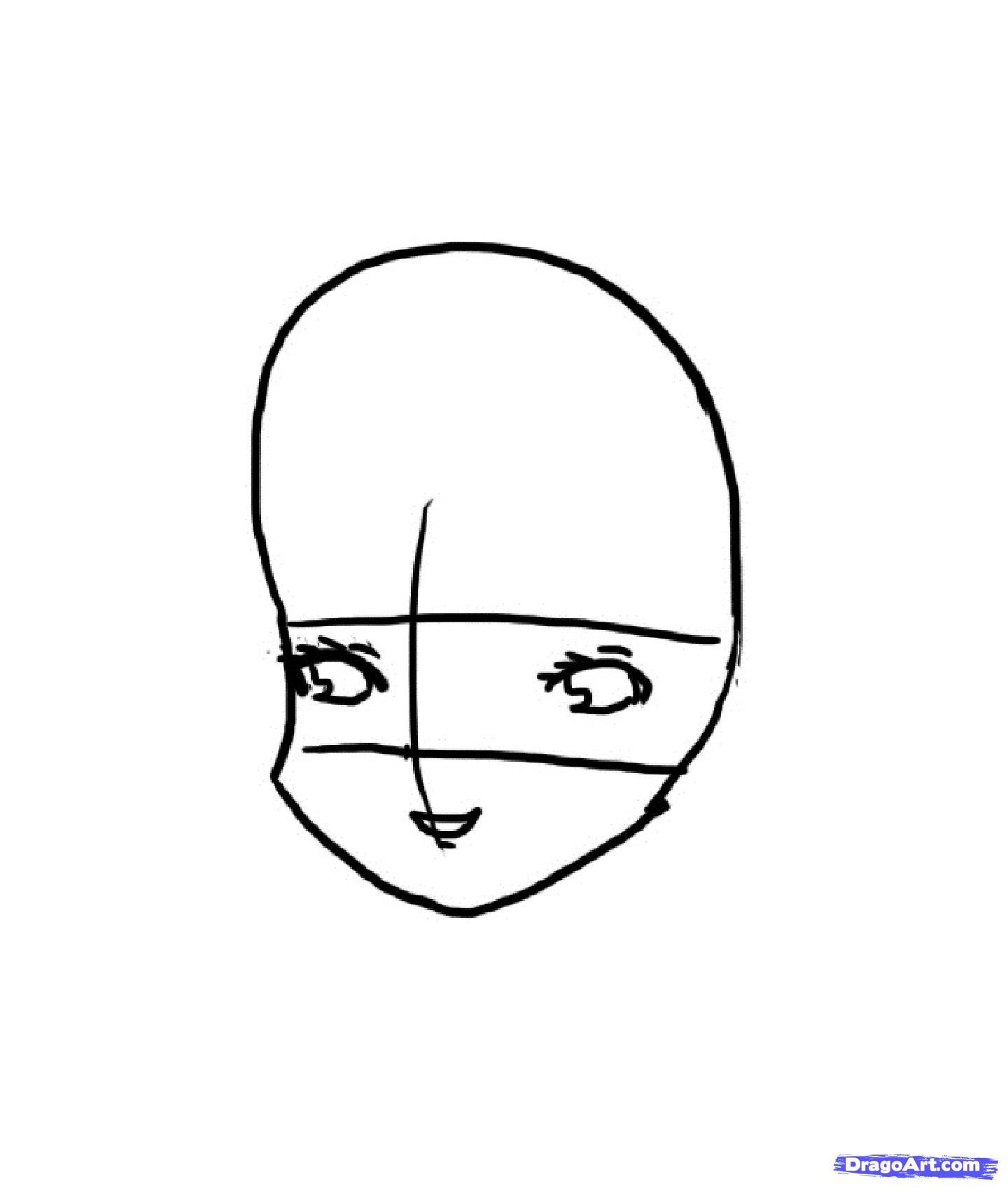 Рисуем красивую аниме девочку - шаг 2