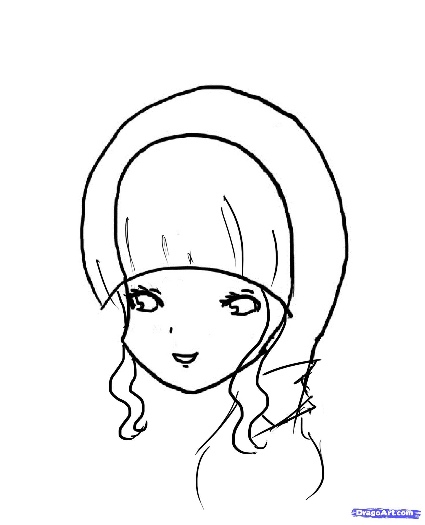 Рисуем красивую аниме девочку - шаг 3