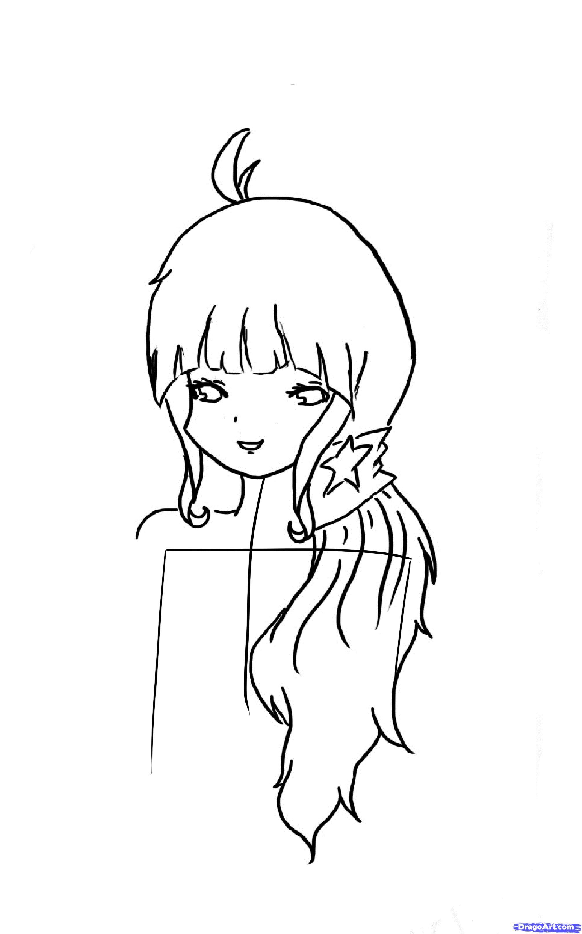 Рисуем красивую аниме девочку - шаг 4