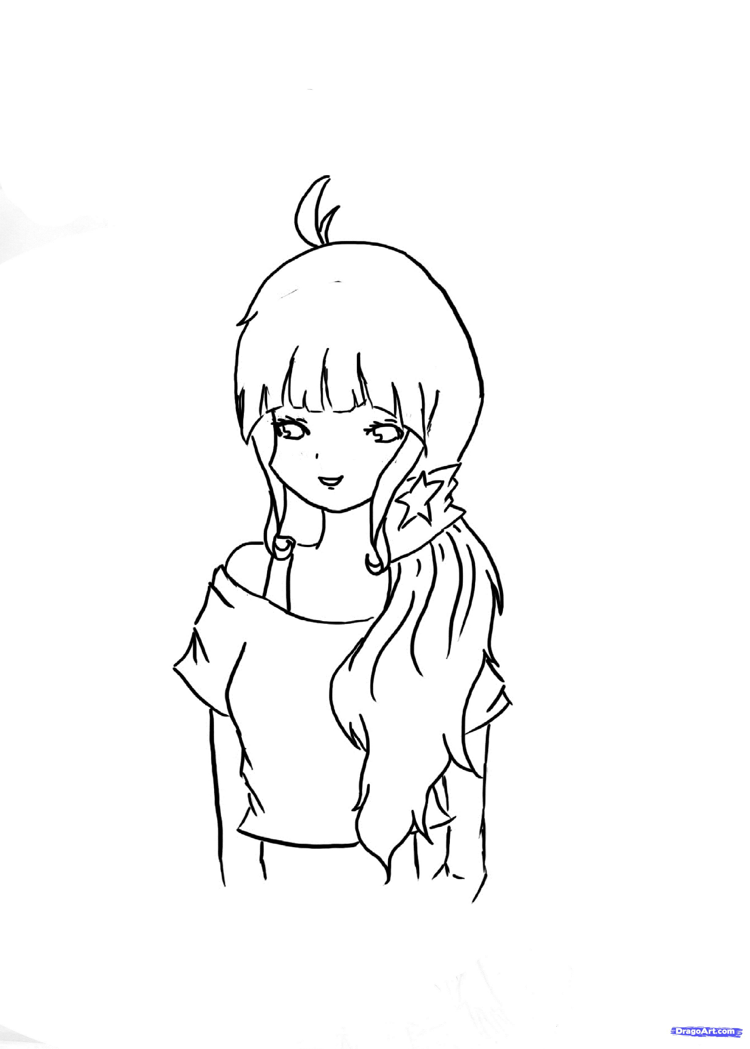 Рисуем красивую аниме девочку - шаг 5