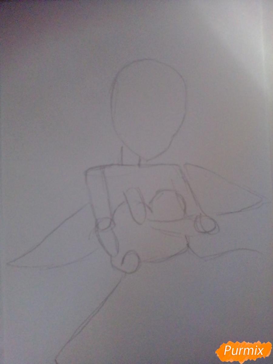 Девушка ангел с арфой в аниме стиле - фото 1
