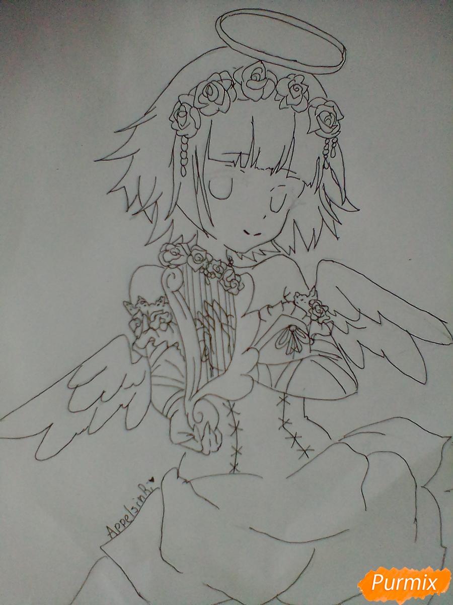 Девушка ангел с арфой в аниме стиле - фото 10