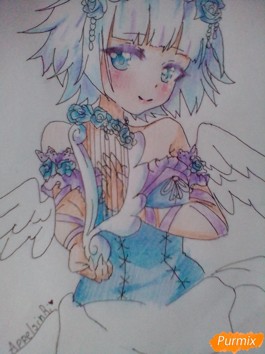 Девушка ангел с арфой в аниме стиле - фото 14