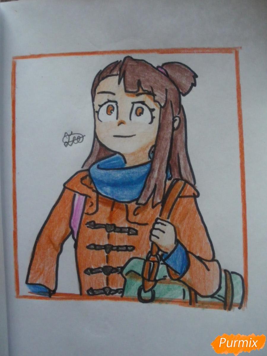 Как нарисовать Акко из аниме Академия ведьмочек карандашом поэтапно