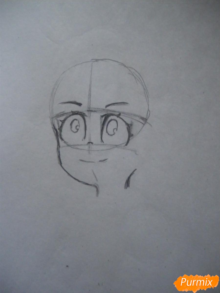 Рисуем Акко из аниме Академия ведьмочек - шаг 2