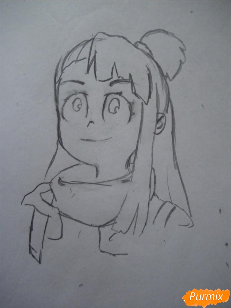 Рисуем Акко из аниме Академия ведьмочек - шаг 4