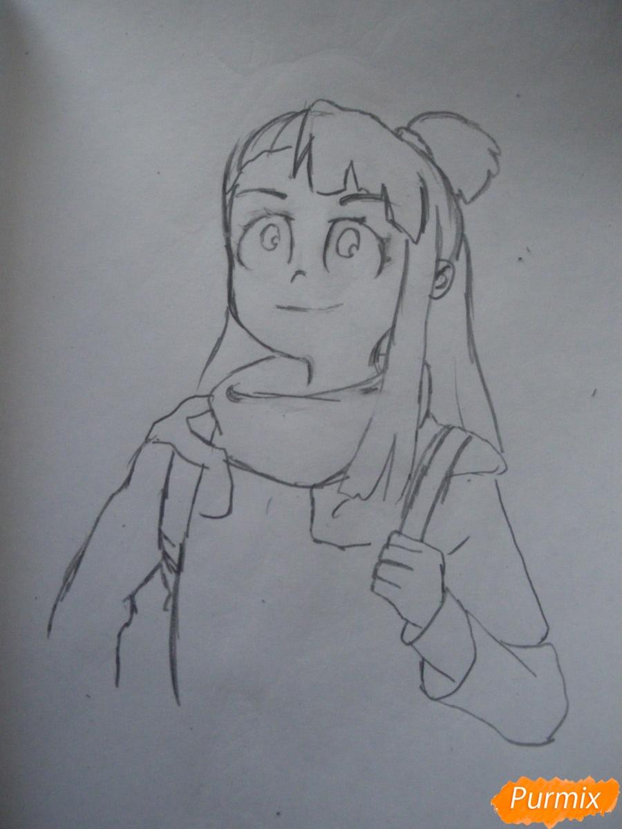 Рисуем Акко из аниме Академия ведьмочек - шаг 5