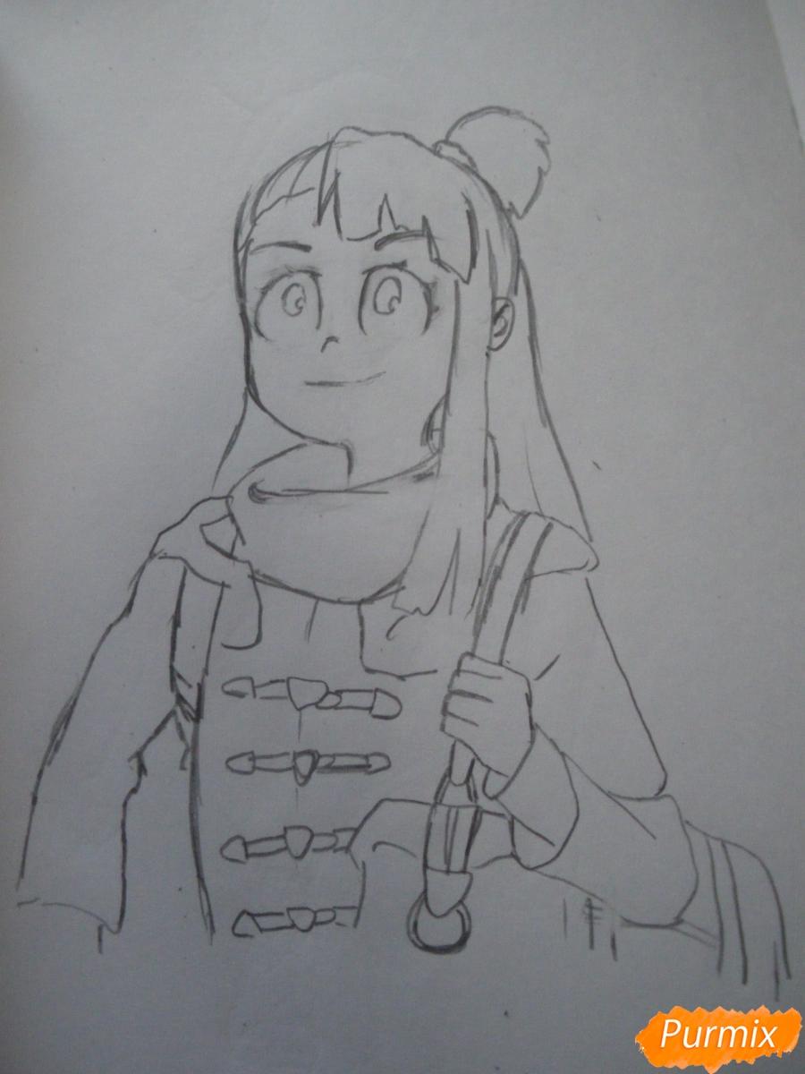 Рисуем Акко из аниме Академия ведьмочек - шаг 6