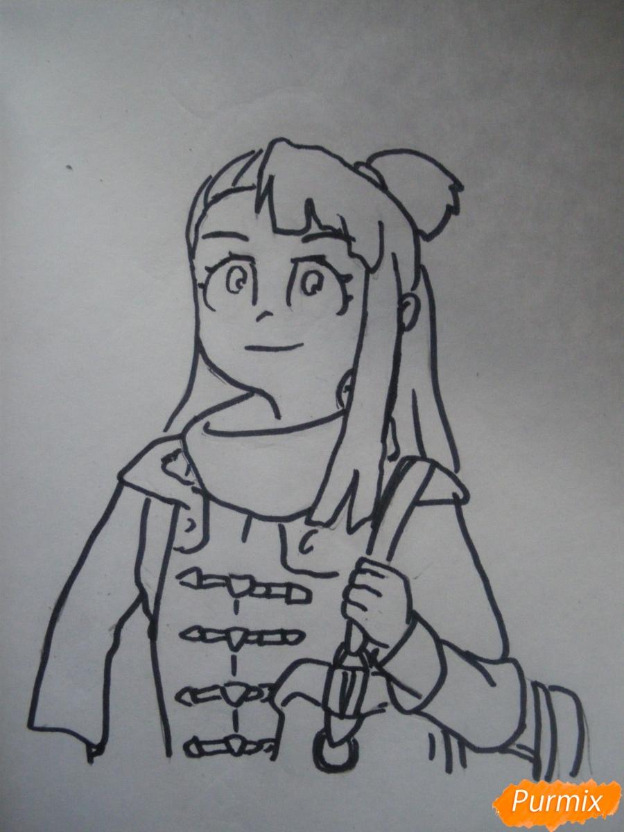 Рисуем Акко из аниме Академия ведьмочек - шаг 7